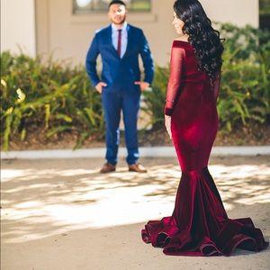 Dresses - Velvet burgundy dress!